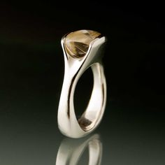 Rutile Quartz Sterling Silver Fold Ring  #engagement #ring
