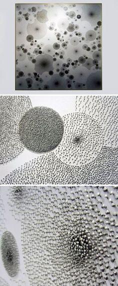 Drawings (pins) by Tara Donovan at Art Basel via www.Facebook.com/DesignBoomNews