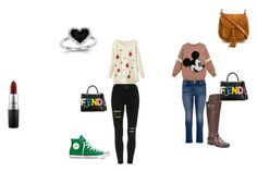 """""""Untitled #19"""" by jasmine-chitwood ❤ liked on Polyvore featuring Converse, Chloé, MAC Cosmetics, Kevin Jewelers, maurices, French Blu and Fendi"""