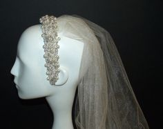 Beaded Bridal Headpiece with Ivory Veil by OvertheTopHats on Etsy, $69.00