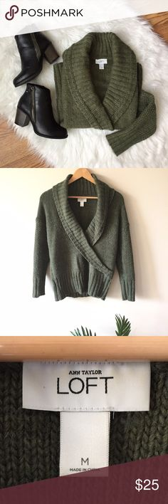 LOFT Green Sweater A gorgeous soft plush sweater by LOFT. Open cowl/drape neck with slight v shape. Made of high quality alpaca, wool, and acrylic. In excellent pre-loved condition! Size M. Length: 24 inches Bust: 19 inches.   ✨bundle sweaters for a discount and make shipping worth it :) LOFT Sweaters Cowl & Turtlenecks