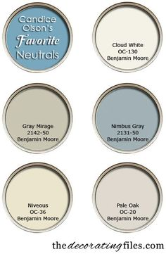 Candice prefers Benjamin Moore paints and has teamed up with them to develop a fan deck of her favorite BM colors. It's aptly called Candice Olson Designer Picks. Here are her top five neutral color picks. I love Candice Olson. Interior Paint Colors, Paint Colors For Home, Paint Colours, Interior Painting, Colour Schemes, Color Combos, Color Palettes, Wall Colors, House Colors