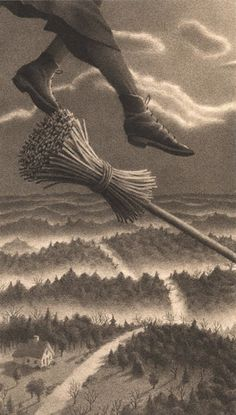 Illustration from The Widow's Broom by Chris Van Allsburg. In The Widow's Broom, the text is Witch Broom, Witch Art, Witch Flying On Broom, Halloween Art, Vintage Halloween, Vintage Witch, Samhain Halloween, Illustrator, Affinity Photo