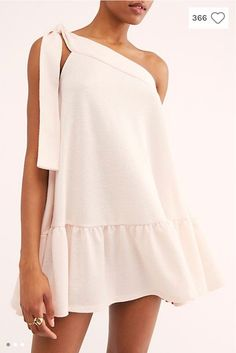 Sweet, one-shoulder mini dress featuring tie strap detail and ruffled bottom hem for added shape. * Soft cotton fabrication* Effortless, pull-on style* Shapeless silhouette Cute Dresses, Casual Dresses, Short Dresses, Mini Dresses, Ball Dresses, Dress Outfits, Cute Outfits, Fashion Outfits, Look Fashion