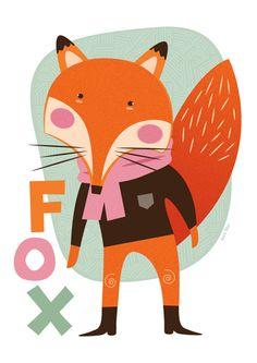 Scandinavische geïnspireerd 'Fox' A3 afdrukken door SaraBlueCreative