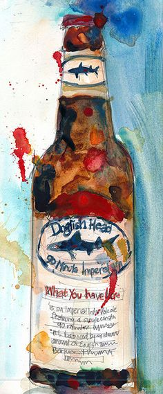 Dogfish Head Brewery Print from Original Watercolor   by dfrdesign