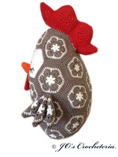 Crochet Pattern -r Chicken/Rooster Pillow.