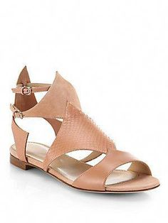 903481c441cc0a Sergio Rossi Suede and Snake-Embossed Leather Sandals  SergioRossi Nude  Sandals
