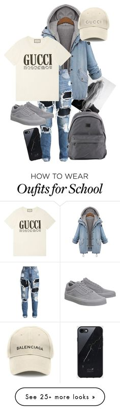 """School day "" by maddie-yarbrough on Polyvore featuring Sefton, Gucci, Vans, Paul & Shark and Balenciaga"