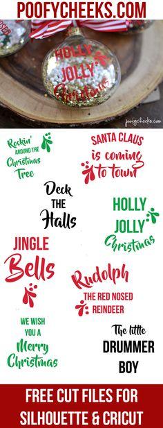 DIY Christmas Carol Ornaments - Free Cut File - Ornament Blog Hop - Poofy Cheeks