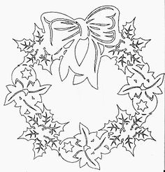 DIY: Christmas wreath. Free paper craft. Stencil/template/pattern.