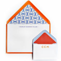 Letterpressed Notes & Enclosure Cards in Blueberry and Tangerine with Colored Envelopes and Envelope Liners from Haute Papier - Design 40