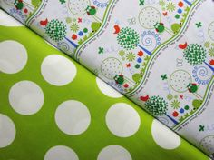 Animal Friends OWLS Modern Lime Dots  Michael by spiceberrycottage, $9.45