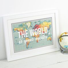 The World is Your Oyster, World Map, World Map Print, Poster, Map of the World, Travel Quote, Wanderlust, Map Print, Map Quote, Travel, Maps by oflifeandlemons World Map Art, World Map Poster, Leaving Presents, Map Background, Framed Prints, Poster Prints, Print Map, Wedding Prints, Personalized Wedding Gifts