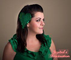 Envious Heart-Emerald Fascinator Glitter Valentine's Headpiece Jealous Dripping Headdress Green Melting Heart Party Accessory Envy Jealousy - pinned by pin4etsy.com