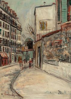 MAURICE UTRILLO (French, 1883-1955)  Rue Lepic à Montmartre, circa 1933  Oil on panel  12-7/8 x 9-1/8 inches (32.7 x 23.2 cm)  Signed lower right: Maurice Utrillo V.  Inscribed lower left: Montmartre