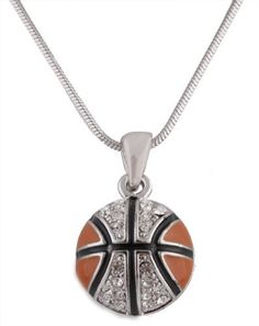 Ladies Silver with Black & Orange Iced Out Basketball Pendant with an 18 Inch Snake Franco Chain Necklace JOTW. $4.95. This necklace measures 18 inches.. 100% Satisfaction Guaranteed!. This pendant measures .75 inches from left to right and 1 inch from top to bottom.. Great Quality Jewelry!. Made in Korea!