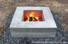 Beautiful DIY modern concrete fire pit.