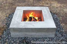 Beautiful DIY modern concrete fire pit.