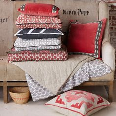 Lacefield Coral and Grey pillow collection www.lacefielddesigns.com #velvet #applique #blockprint #southernmade #textiledesigner #ikat #interiors