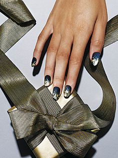 Glitter fade. Matte black with chunky gold — match made in heaven. Canadian Living December 2011.  Photographed by Natasha V.
