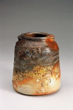 Hand built wood fired ceramic urn pot ash glazed by Janet Mansfield Australia
