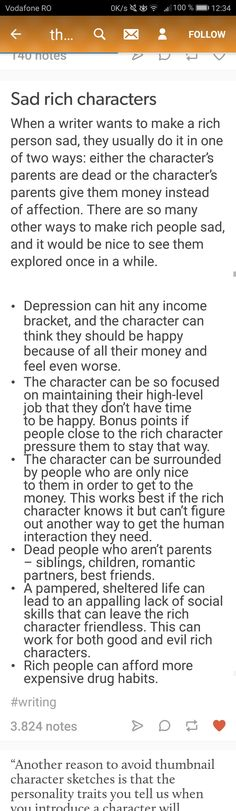 Sadness in rich characters