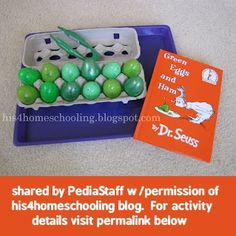 """Use plastic eggs to go along with Dr.Seuss """"Green Eggs & Ham"""" theme"""