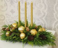 Christmas gold composition with candles