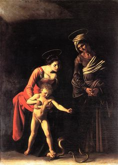 My favorite Caravaggio piece! St. Ann and Mary teaching Jesus to walk.