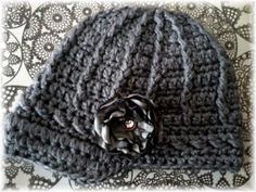 Sky ScaperSolid Charcoal Gray Crochet Hat w/ by mygirlshats, $16.00
