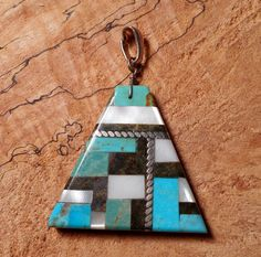 Authentic Native American Turquoise  Inlay Pendant by LanciaArts