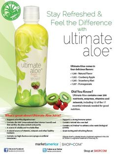 Stay refreshed & feel the difference with Ultimate #Aloe!  Market #America