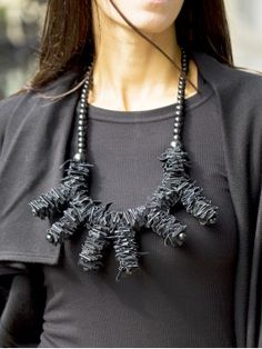 Extravagant Black Leather and Wooden Beads Necklace A16357 #Aakasha #necklace #genuineleather #extravagant #beads #unique #imposing
