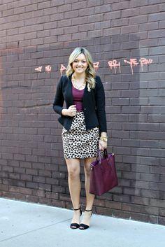 wine colored top, animal print skirt, black cardigan - cute purse, too