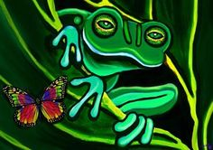 Green Frog Painting - Frog And Butterfly by Nick Gustafson