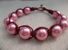 Hemp bracelet // pearl hemp bracelet // by CaliGirlCustoms on Etsy, $12.99
