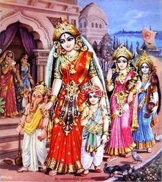 Hindu Cosmos — Parvati with Ganesha Shunmugha and Laxmi,. Shiva Parvati Images, Durga Images, Indian Goddess, Goddess Lakshmi, Shiva Art, Hindu Art, Mantra, Durga Painting, Shri Ganesh