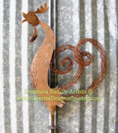 Chicken Garden Art from Recycled Rusty Metal by by GeminiDragonfly, $60.00