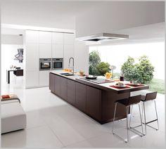 Minimalist Kitchen with Wooden Island