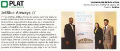 JetBlue: Lanzamiento de Ruta a Lima en revista Business de Perú (03/01/13)