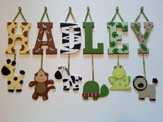 1 Letter  Individually Hanging Block Letter with dangling animals by AlbonsBoutique, $8.00 Jungle letters make PERFECT baby shower gifts. Can be painted in any theme and match any bedding