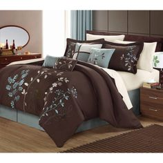 Luxury Bedding Sets Modern Comforter Set Queen King Teal Blue Brown Bed In A Bag - Bed-in-a-Bag