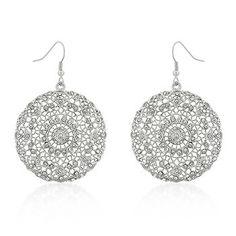 Filigree Open Face Crystal Earrings
