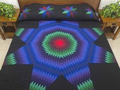 Lone Star Quilt -- splendid well made Amish Quilts from Lancaster (hs5985)