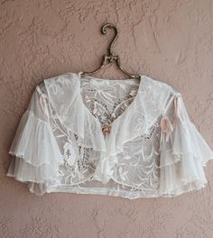 Paris treasure Sheer embroidered Tambour lace crop capelet with lucite rose brooch and silk ribbon details