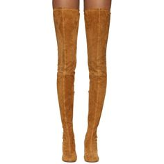 Maison Margiela Camel Suede Over-the-Knee Boots ($730) ❤ liked on Polyvore featuring shoes, boots, heels, round toe boots, over the knee suede boots, suede boots, thigh high heel boots and over the knee suede heel boots