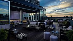 Toronto Rooftop Patios. 550 Wellington St W Guests at the Thompson Toronto Hotel at Bathurst and Wellington can enjoy the beautiful rooftop's close-up views of the CN tower, Rogers Centre, Lake Ontario, and downtown skyscrapers.