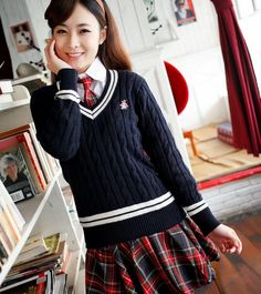 Student clothing class service school uniform japanese style uniform set sweater autumn and winter women long-sleeve set white $52.64