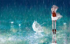 rain, anime, and umbrella εικόνα Art And Illustration, Illustrations, Sad Anime, Manga Anime, Anime Art, Beautiful Artwork, Beautiful Pictures, Anime Triste, Umbrella Art